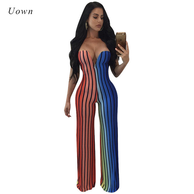 ae772239bed8 Striped Print Sexy Rompers Women Jumpsuit Strapless Long Pants Overalls  Rainbow One Piece Evening Party Club Wide Leg Jumpsuits