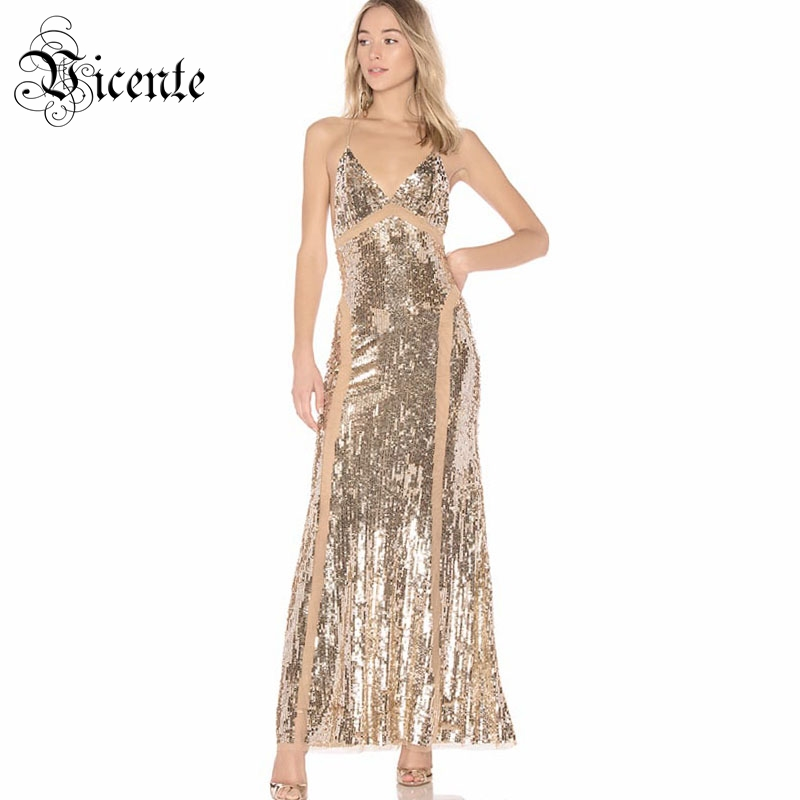 Free Shipping! 2018 New Stylish Elegant Sequins Embellished Sexy V-Neck Backless Mesh Patchwork Celebrity Maxi Long Slip Dress