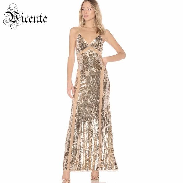2d981ea76acc5 US $62.29 30% OFF|Vicente HOT 2019 New Stylish Elegant Sequins Embellished  Sexy V Neck Backless Mesh Patchwork Celebrity Maxi Long Slip Dress-in ...