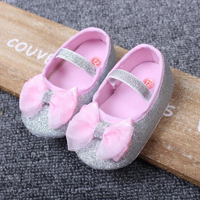 Cute Baby Girl Sko Toddler Baby Soft Sole Første Walkers Casual Baby Sko Baby Sko sequined bue pige sko gratis fragt