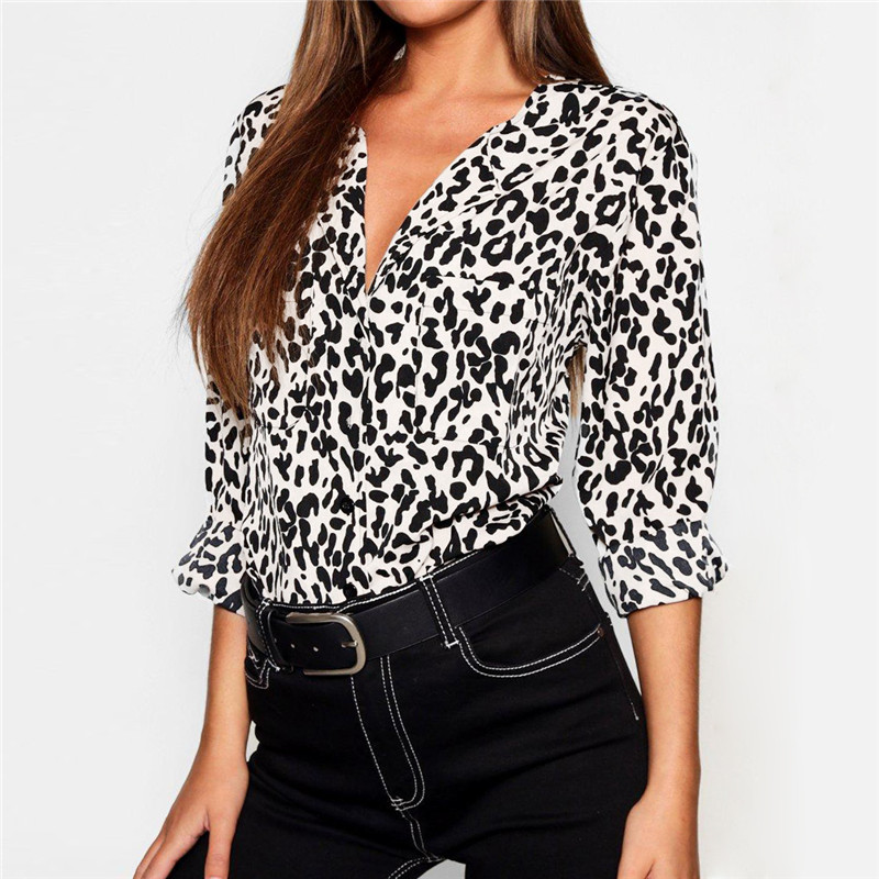 Leopard Print Casual Chiffon Blouse Women Tops and Blouses
