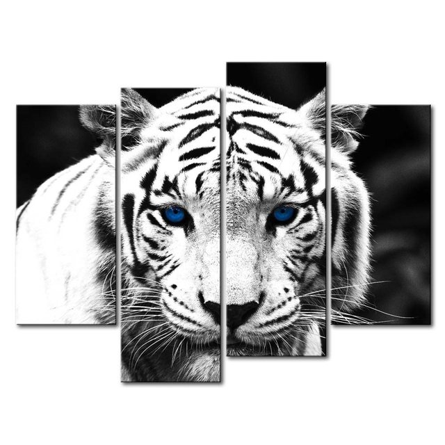שחור לבן כחול עיניים טייגר 4 לוח קיר אמנות בעלי החיים ציור הדפסי בד תמונות 4 פנל לבית מודרני דקור