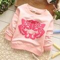 Бесплатная доставка Осень Новый Тигр шаблон дети с длинными рукавами футболки, мальчиков и девочек футболки # Z615