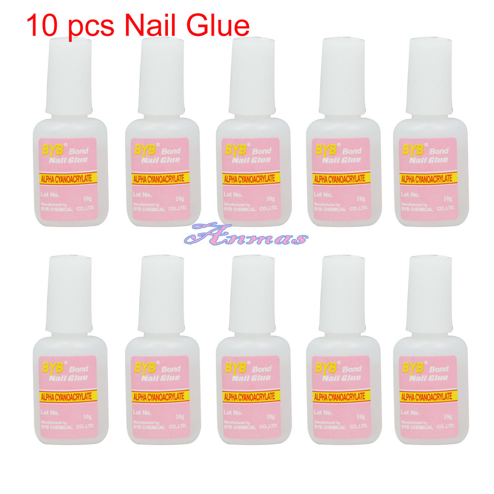 10 PCS 10g BYB NAIL GLUE with BRUSH NAIL ART TOOL for False TIPS ...