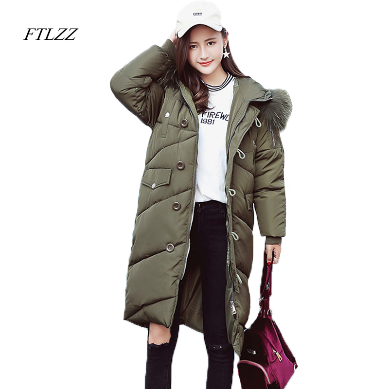 Ftlzz Winter Women Jacket Down Cotton Coat  Large Fur Collar Medium Long Hooded Parkas Padded Warm Thickness Military Overcoat 2017 cheap women winter jacket down cotton padded coats casual warm winter coat turn down large size hooded long loose parkas