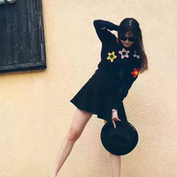 Red Net With A Hand Hook Flower Long Sleeved Autumn And Winter Sweater Dress Color Flower