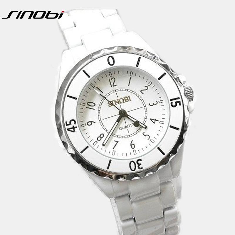 Prix pour Mode marque Sinobi dames luxe métal Quartz montres unisexe cadeau montre blanc noir amoureux couple montre - bracelet 1850