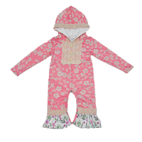 New Fashion Baby Hooded Rompers Newborn Fall Long Sleeve Ruffle Cotton Floral Tassel Clothes Infant Children
