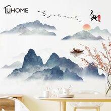 Китайский стиль чернила пейзаж Картина Настенная Наклейка гостиная