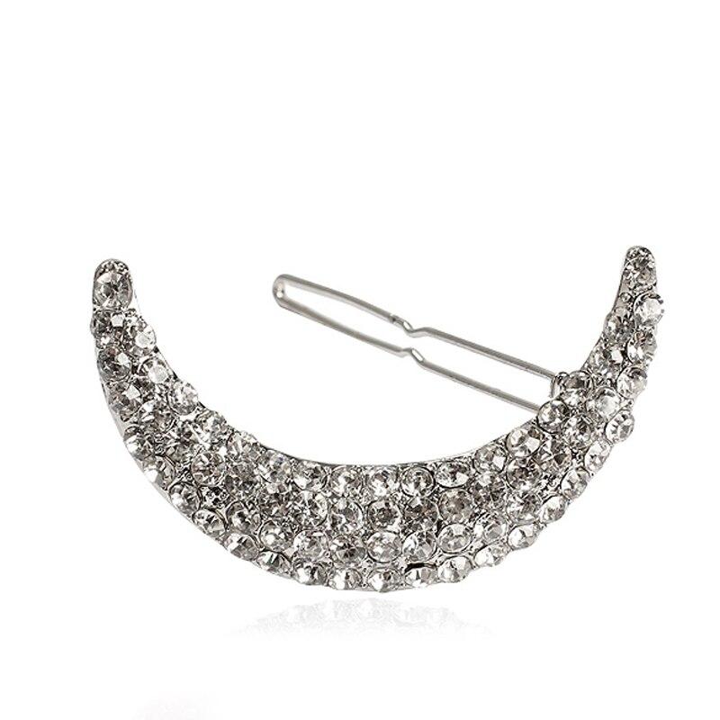 Women Crystal Moon Rhinestone Hair Clip Bang Clips Headdress Hairpin Clamps Hair Accessoreis MH88