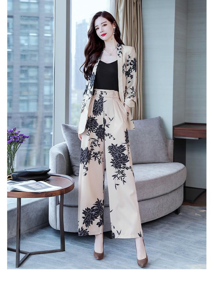 YASUGUOJI New 2019 Spring Fashion Floral Print Pants Suits Elegant Woman Wide-leg Trouser Suits Set 2 Pieces Pantsuit Women 24