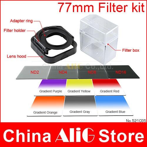 Prix pour 14in1 Camera lens filter kit 77mm adapter ring lens hood ND gradient filtre cokin P pour 70D 5D 6D 7D EF 24-105mm f/4L IS USM