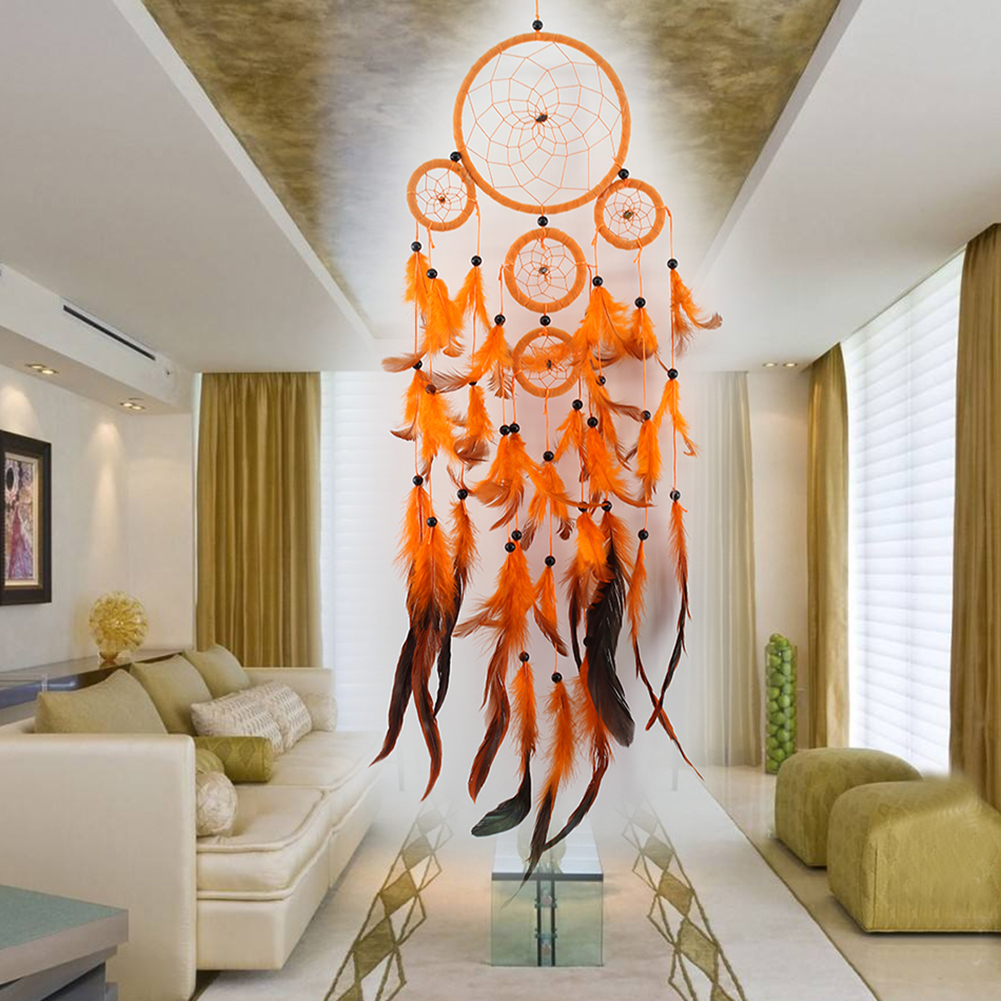 5 rings Orange Dream Catcher Handmade Dreamcatcher Net with Feather Wall Hanging Decoration Home Car Mascot Gifts