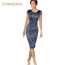CHAMSGEND Drop Shipping 2017 New Fashion Women Blue Bohemian Star Printing Short Sleeve Party O-Neck Mid-Calf Dres JUL07(China)