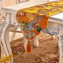 ADASMILE Marke Chinesischen Drachen Design Dekoration Tischläufer Esstisch Flagge Stickerei Party Hochzeit Tischtuch