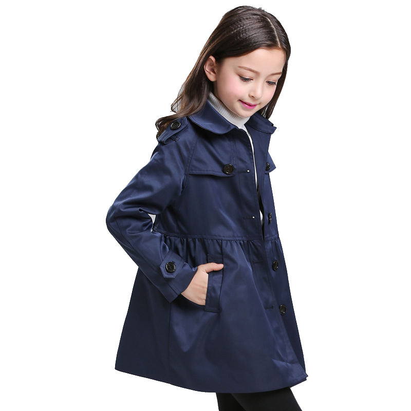 Winter Girls Coat Children Princess Overcoat Kids Classic Khaki Long England Style Clothes High Quality for