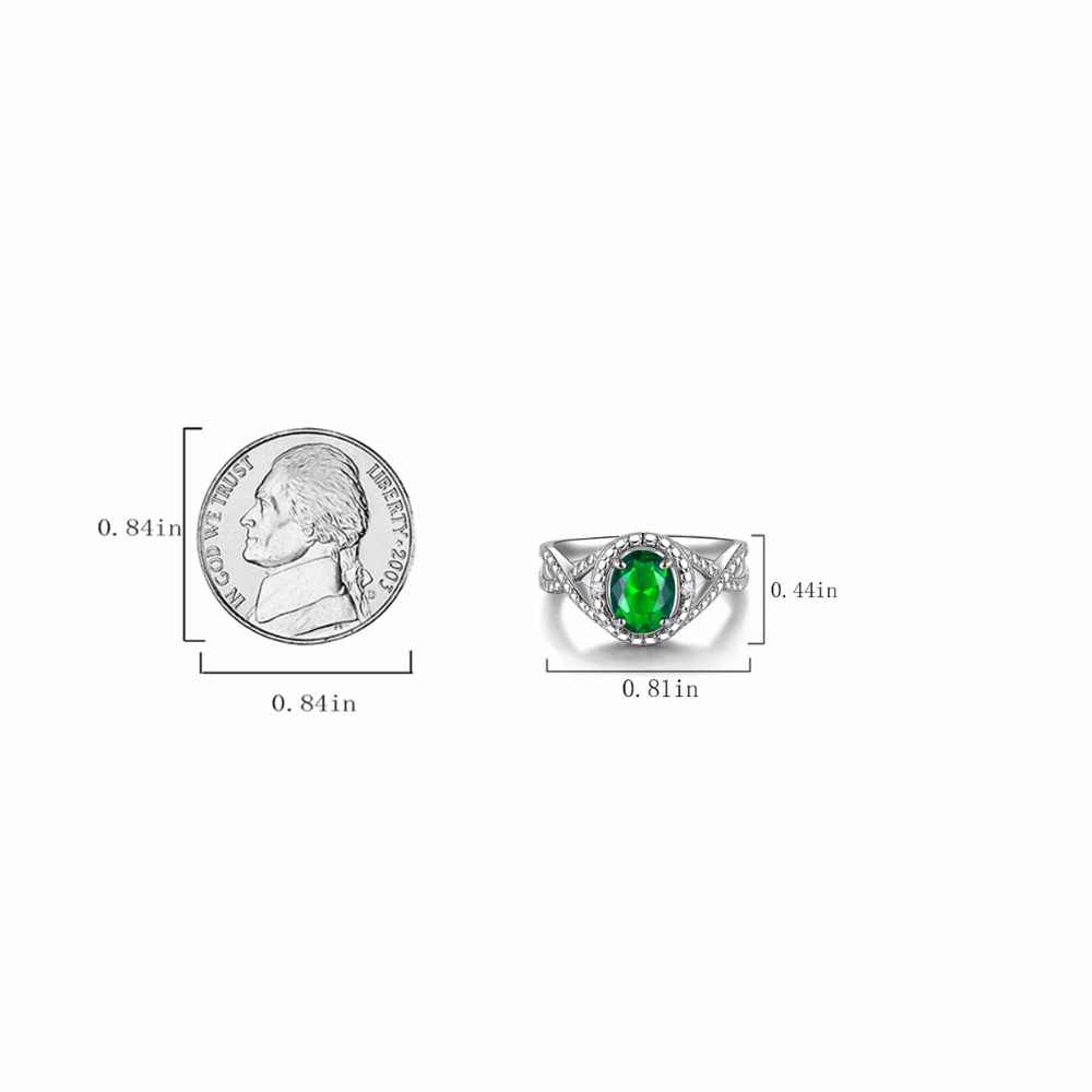 DOUBLE-R 925 Sterling Silver Sapphire Ring Blue Topaz Zircon Created Oval 1.2ct Emerald Ruby Gemstone Engagement Rings for Women