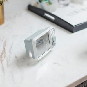 Image 2 - Горячая многофункциональная ретро форма, ТВ будильник, лампа, зеркало, многофункциональные зеркальные часы, термометр, кровать, часы серый, синий
