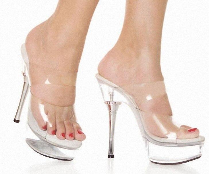 Ventilation with cool slippers  14 cm high heels elegant crystal sandals