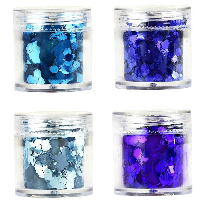 Nagelglitzer Pla07-9-12 4 Boxen 4x10 Ml Metallic Glitter Mix Set/chunky Glitter Nail Art Feine Chunky Blau Lila Holographische Glitter Mix