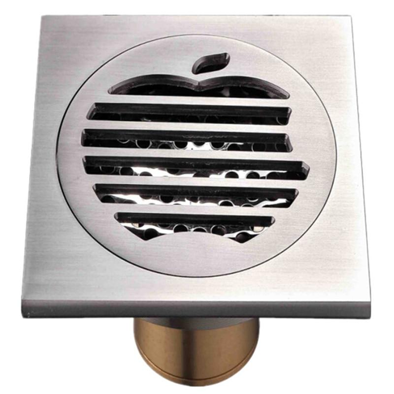 10*10cm Apple Floor Drain Brushed Nickel Brass Chrome Finish Anti-odor Shower Waste Water Shower Strainer Bathroom Accessories