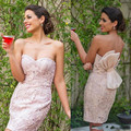 Blush Pink New  Cocktail Dresses 2016 Sweetheart Mermaid Lace knee-lenght Cocktail Gowns With Big Bow Vestido De Festa