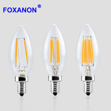 Foxanon Dimmable Led Filament light E14 2W 4W 6W Bulb Lamp Candle cob 2 4 6Leds lampada led Retro Crystal chandeliers Lighting