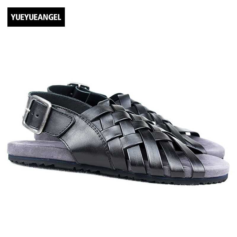 2018 New Designer Mens Buckle Strap Beach Sandals Weave Fisherman Gladiator Shoes Peep Toes Genuine Leather Outside Casual Shoes italian classic mens summer gladiator beach sandals ankle buckle weave hollow out cow real leather shoes large size casual shoes