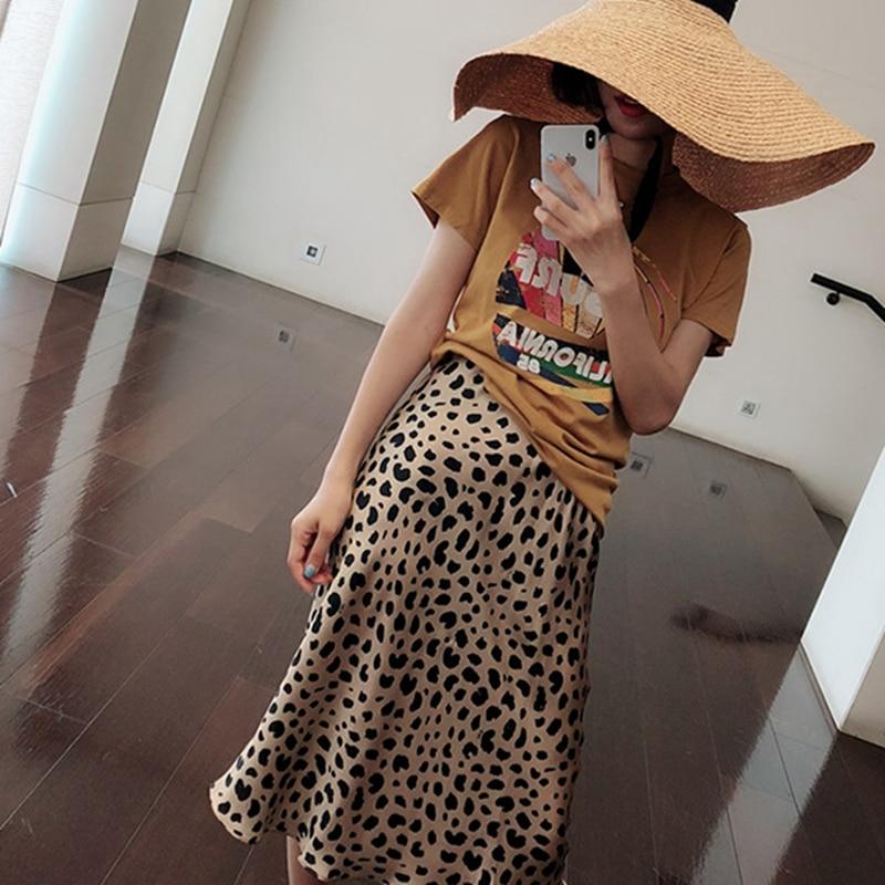 Summer 19 kawaii boho bodycon leopard print high waist skirts womens midi leopard skirt punk streetwear korean style 15
