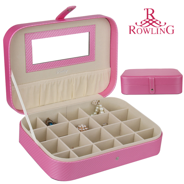 Cufflink Storage Box Small Mirrired Ring Case Mini Pu Jewelry Travel Bag Pink Bracelet Organizer Leather