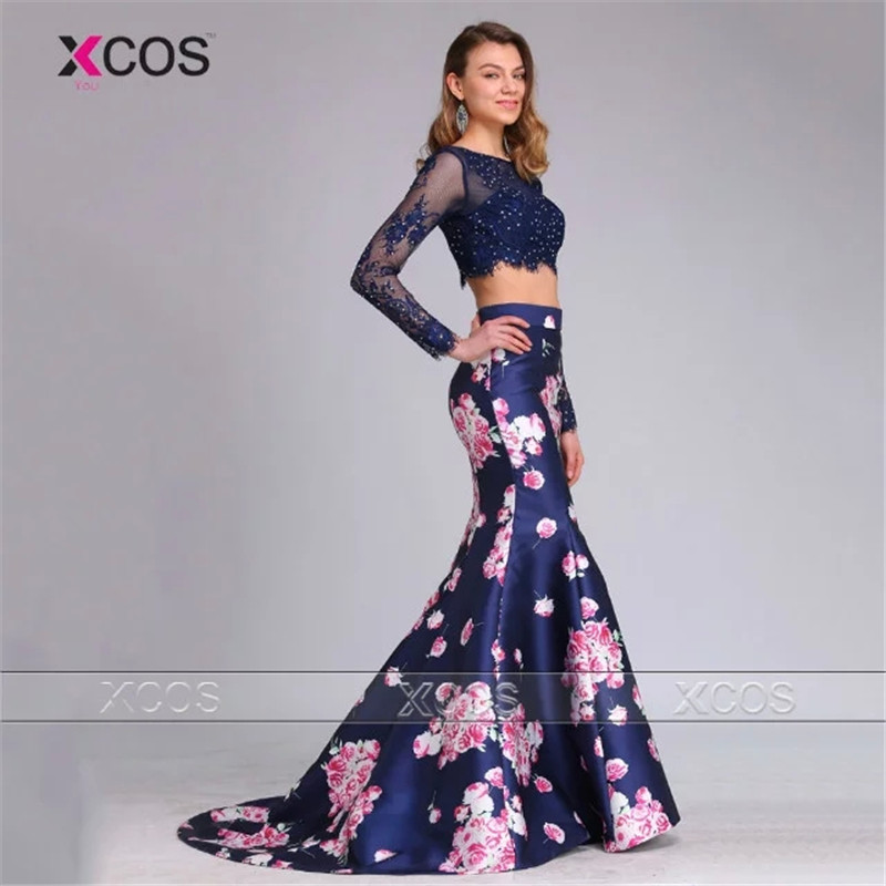2 Piece Floral Prom Dress