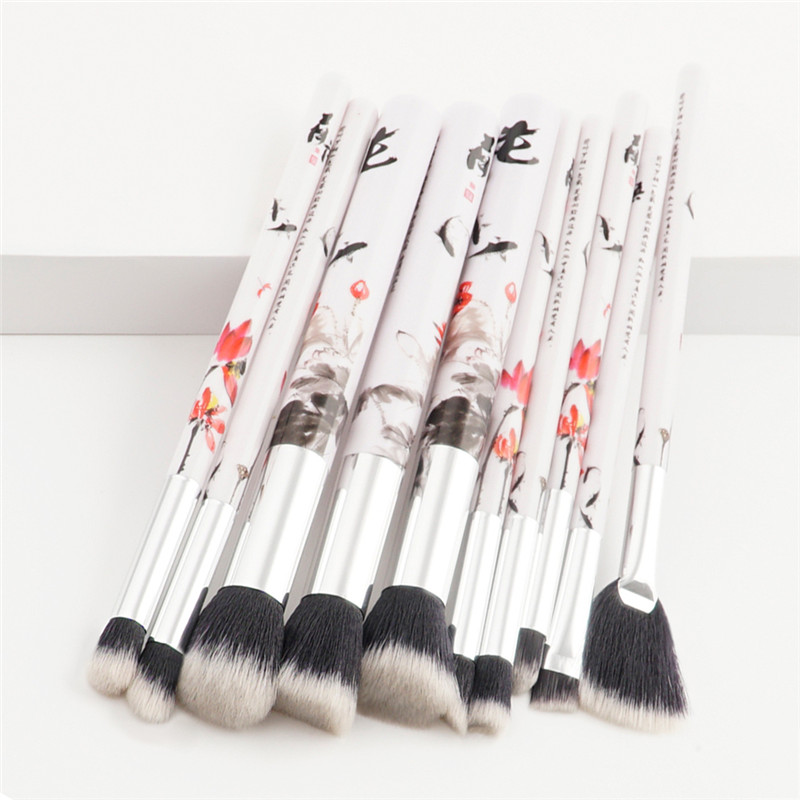 10 pcs Makeup Brushes Set Cosmetic Brush Powder Foundation Eyeshadow Lip Brush Tool Flower Fish Picture  Chinese style Handle makeup brushes set tool 18 15pcs brushes