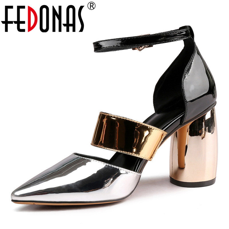 FEDONAS Fashion Patent Leather Women Pumps 2019 Summer New Sandals Pointed Toe High Heels Night Club