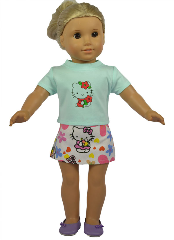 2 Styles 2in 1 Set American Girl Doll Clothes of Kitty Shirt+ Skirt for 18 American Girl Doll and Other 18 Girl Dolls