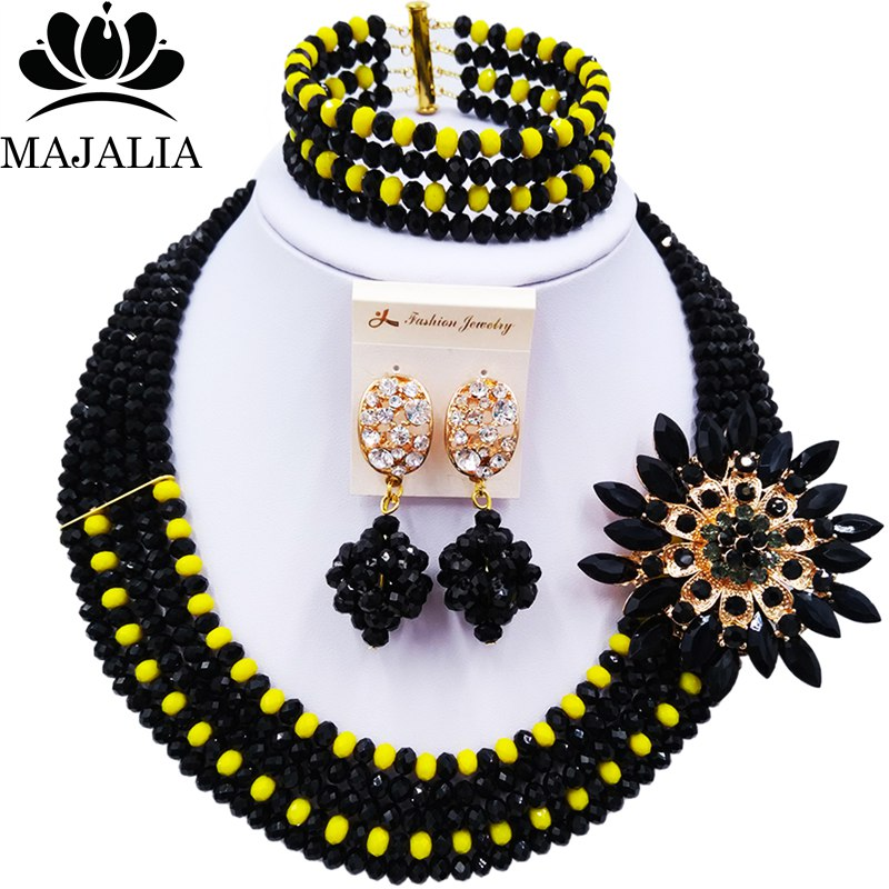 Majalia Black and Opaque yellow Crystal Beaded Pretty African Jewelery Set Nigerian Wedding Clothing Jewelery Sets 5ST006