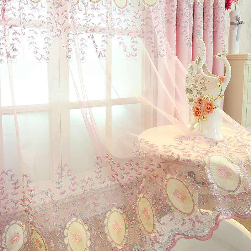 The New Pink European Embroidery Curtain Fabric For Living Room
