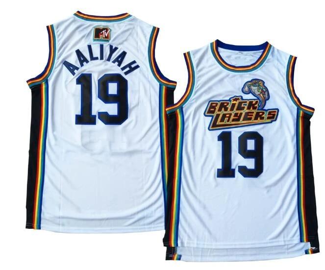 Aaliyah Jersey #19 Bricklayers Throwback Jerseys 1996-97 MTV Rock N' Jock Movie Men Stitched Cheap basketball jerseys Viva Villa