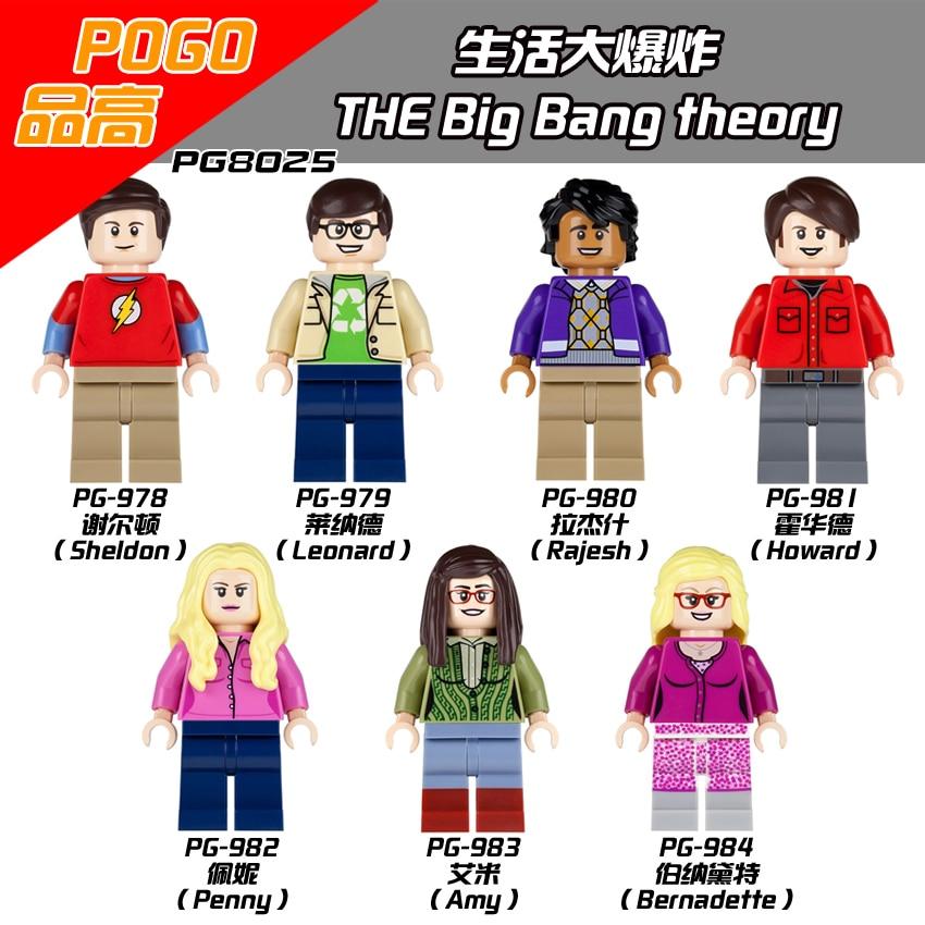The Big Bang Theory TBBT Sheldon Leonard Penny Howard Rajesh Amy Bernadette Leslie Building Blocks Toys for children juguetes