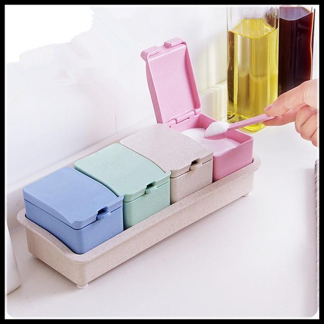 Neue Mode Kunststoff Gewürzglas Salz und Pfefferstreuer Gewürze Box ...