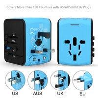 2018 Universal Travel Adapter AC Power US Euro UK AU International Adaptor 3 USB+1Type C World Worldwide USB Plug