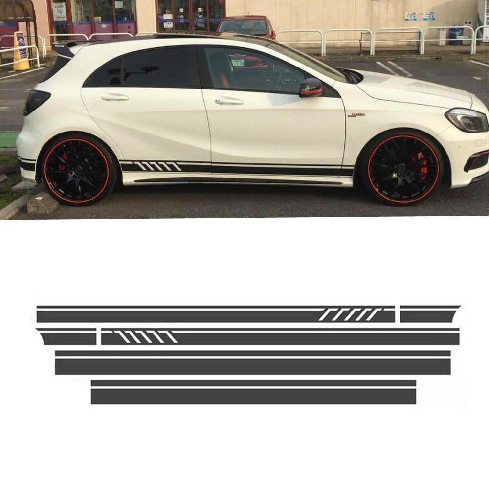 Matte Black Side Stripes Skirt Decals Sticker With Graphics Sticker For Mercedes Benz A Class W176 A180 A200 A250 A45 AMG image