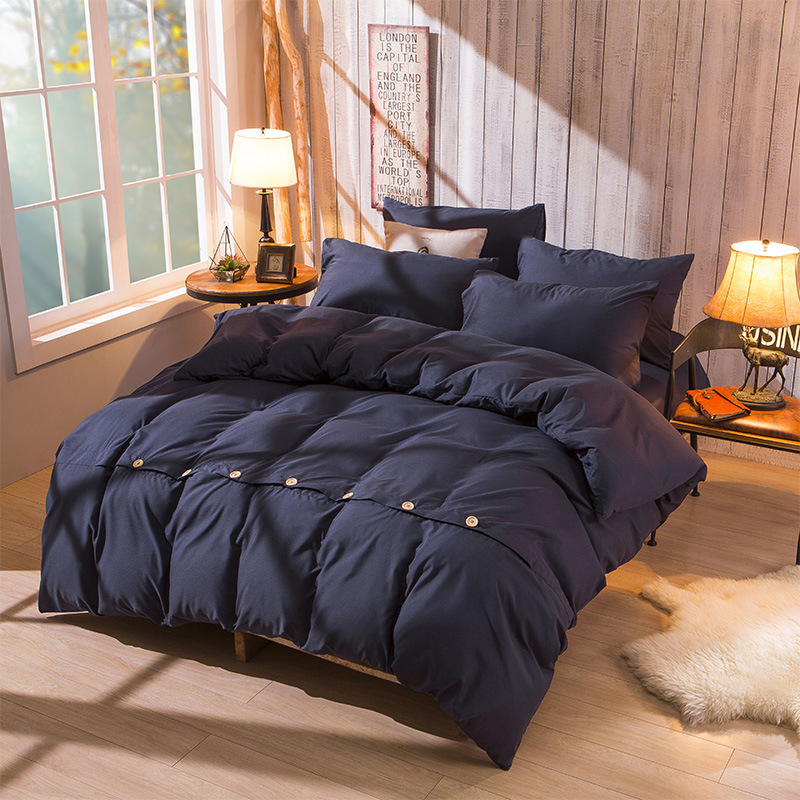 Comforter Bedding Sets Duvet Cover Set Buttons Pillowcase 4PCS Bedclothes Comforter Bedding Sets King Size