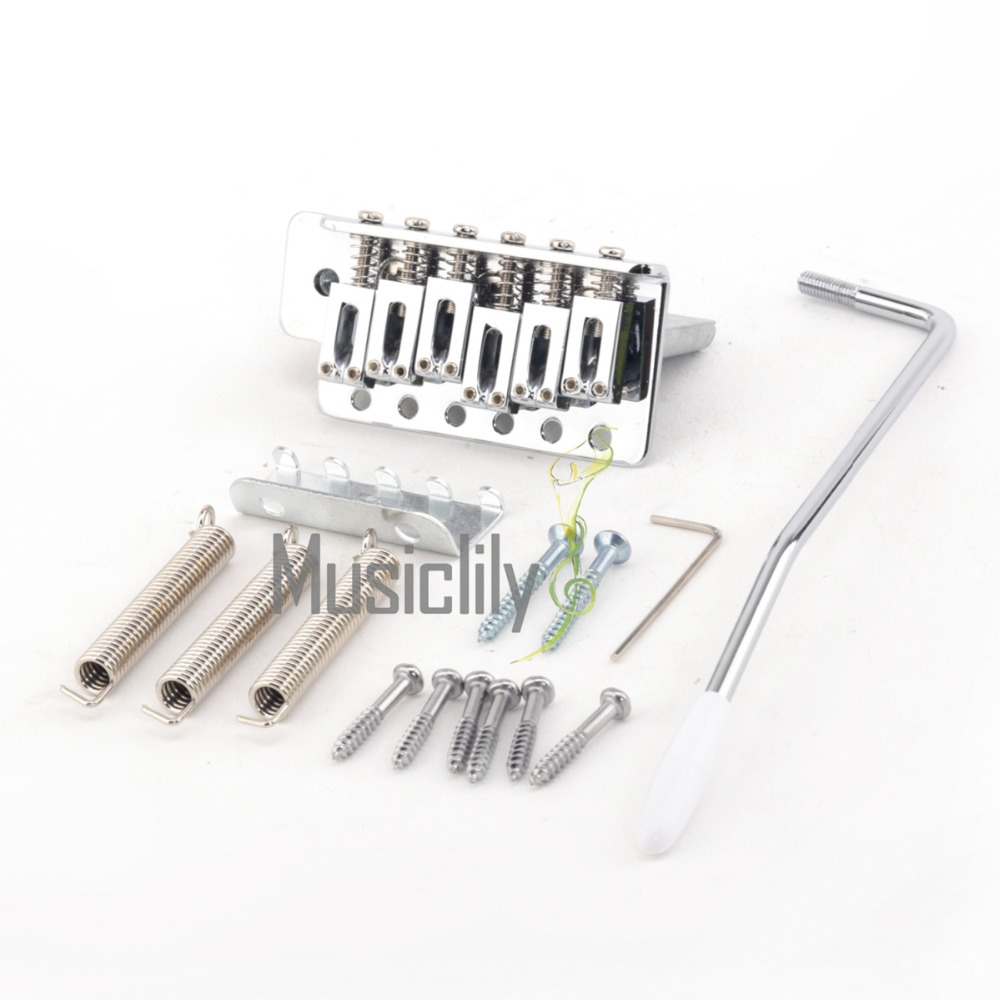Musiclily Pro 52.5 mm Modern Tremolo Bridge Set for Strat ST Style Electric Guitar, Chrome musiclily 3ply pvc outline pickguard for fenderstrat st guitar custom