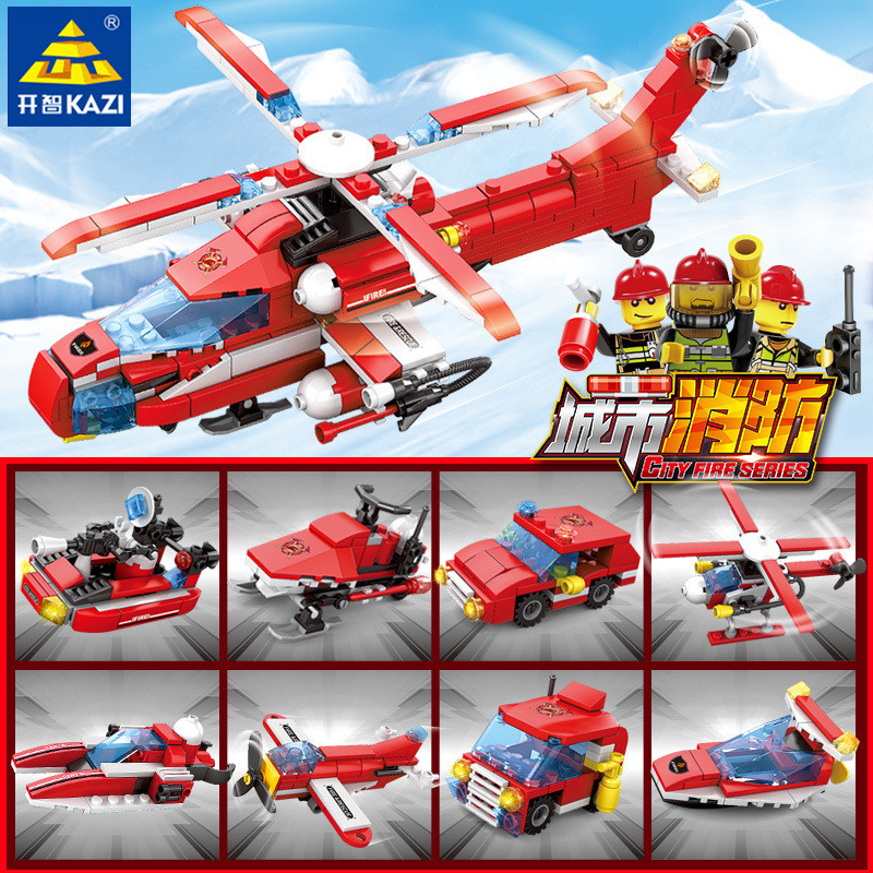 Toys & Hobbies 8pcs/lot City Fire Helicopter Engine Fireman Boat Truck Car Building Blocks Sets Compatible Legoingls Bricks Toys For Children