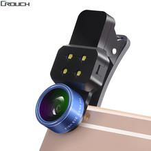 Universal 4 in 1 Clip Fish Eye Smartphone Camera Lens Wide Angle Macro Mobile Phone Lens For IPhone 7 6 5 4 Smart Phones Fisheye