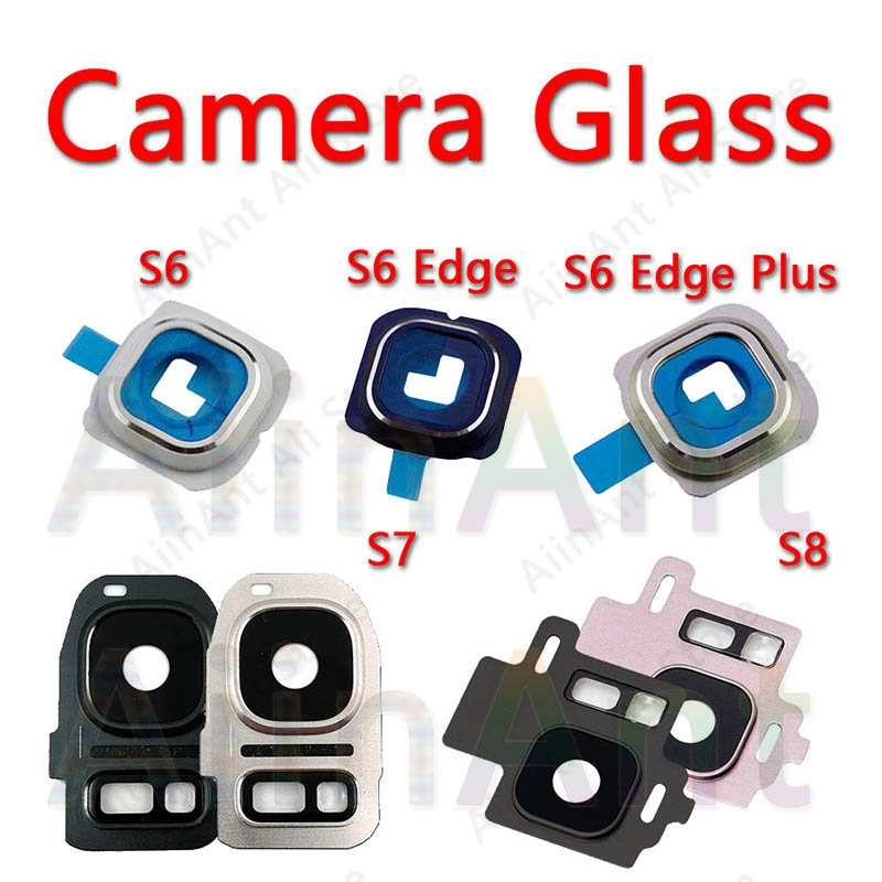 <font><b>Original</b></font> For <font><b>Samsung</b></font> Galaxy S6 <font><b>S7</b></font> <font><b>Edge</b></font> S8 Plus Rear Back Camera Lens Glass Ring Cover With Sticker Repari Part Parts image
