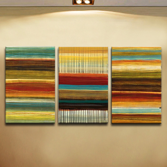 Three Panels Handmade Abstract Oil Painting on Canvas Modern ...