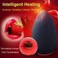 Lamer Chupar Máquina Automática Del Sexo Oral Masculino Taza del Masturbator de 6 Velocidades Que Vibran el Calor Inteligente Juguetes Sexuales Realistas Para Los Hombres