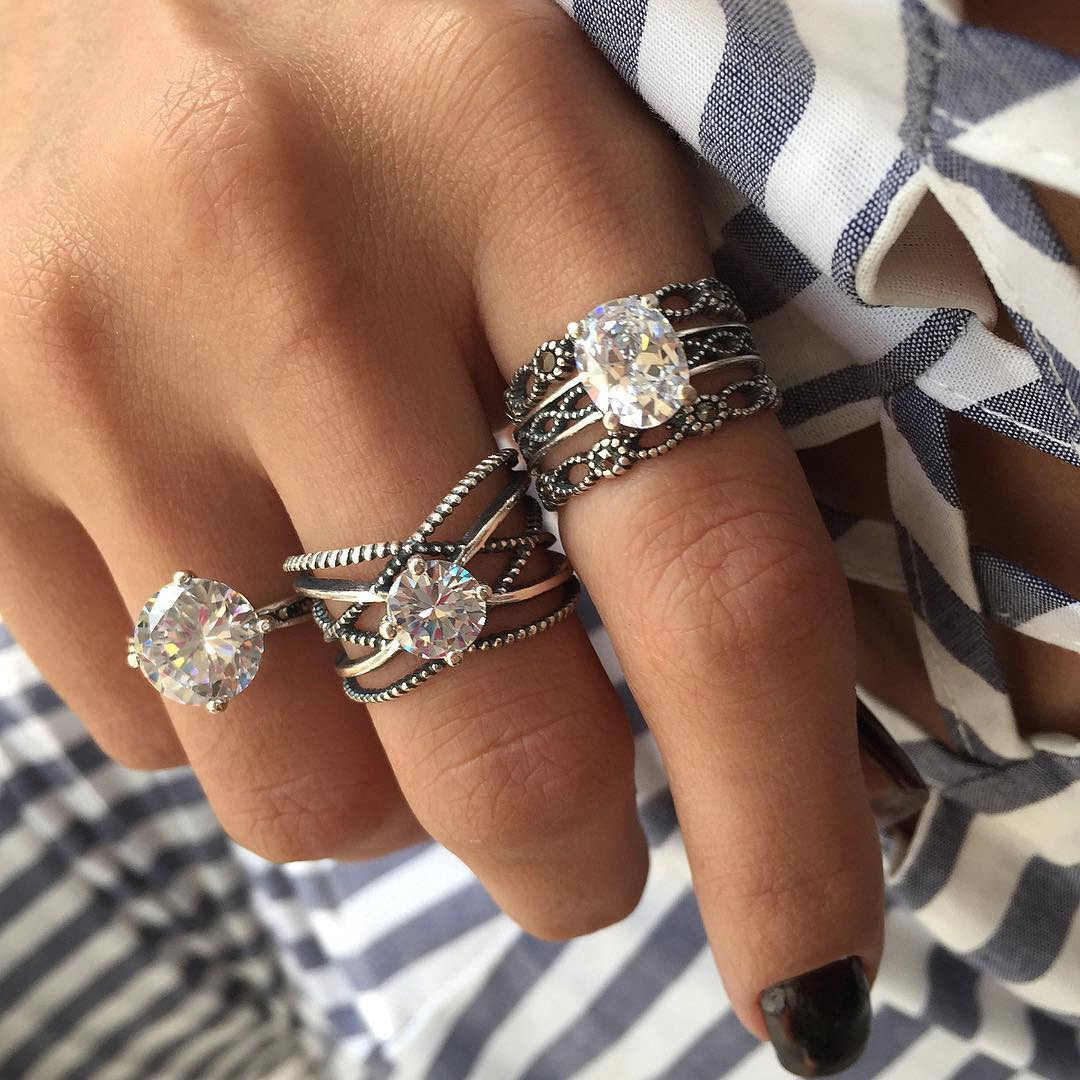 New 3pcs Big Cubic Zircon Wedding Knuckle Rings for Women Silver Color Crystal Finger Ring Set Boho Antique Female Jewelry