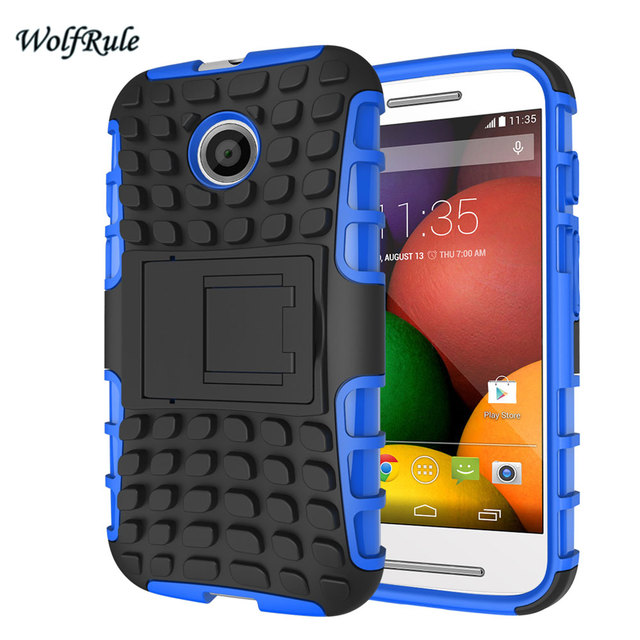 huge discount 47014 68fe1 US $3.18 24% OFF|WolfRule For Case Motorola Moto E Cover Silicone & Hard  Plastic Case For Motorola Moto E Case XT1021 Holder Stand For Moto E-in ...